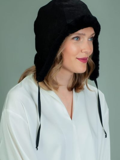 black fur-lined sheepskin helmet hat