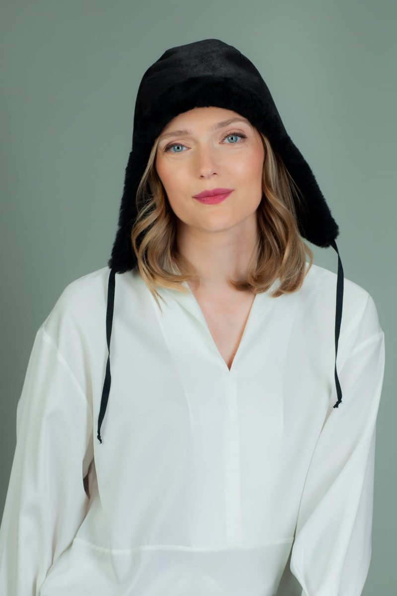 black fur-lined sheepskin helmet hat