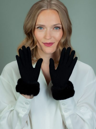 black wool gloves with mink fur wrist decoration