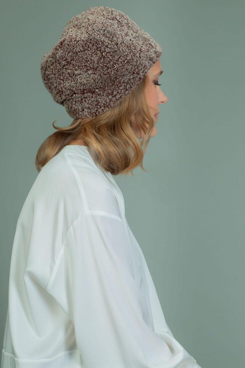 brown sheepskin fur hat