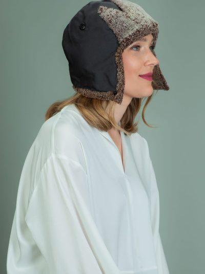 brown sheepskin fur helmet hat