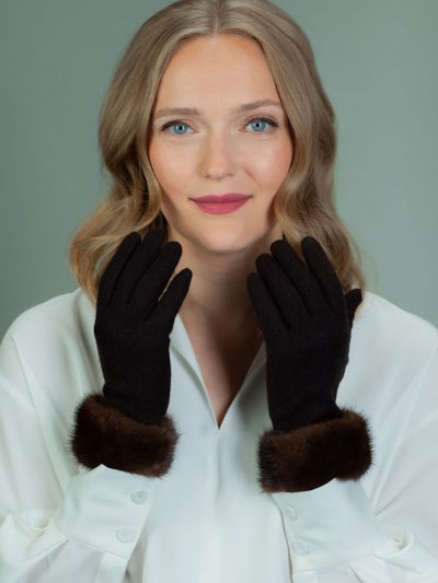 brown wool gloves with mink fur wrist cuffs