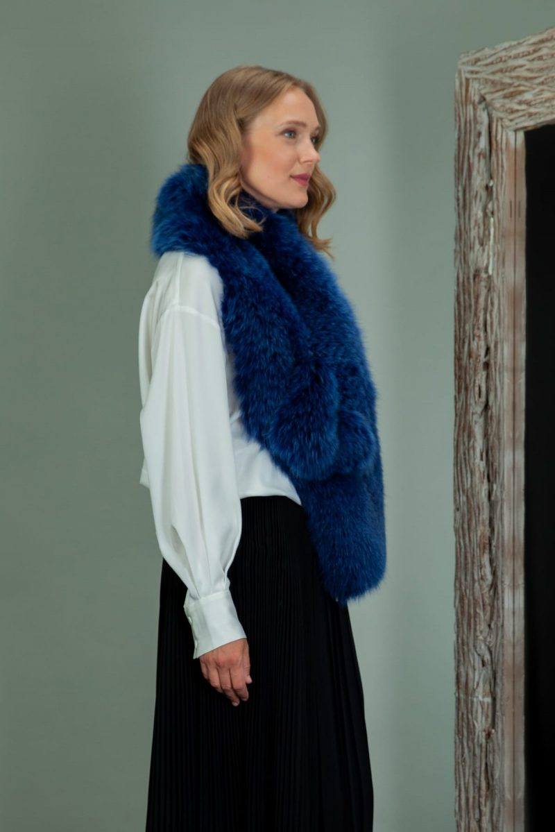 dark blue fox fur shawl collar