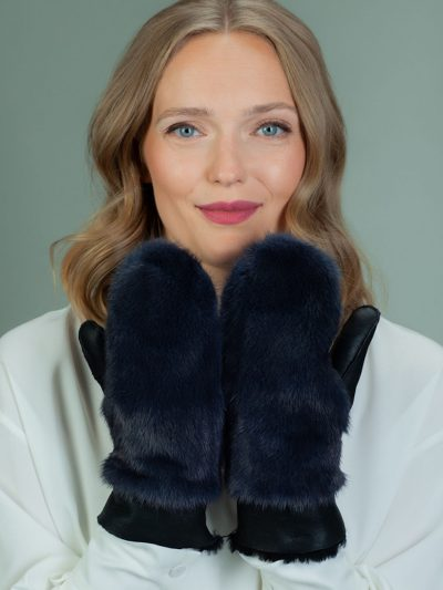 dark blue merino sheepskin mittens with mink fur decoration