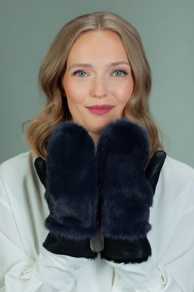 dark blue merino sheepskin mittens with mink fur decoration