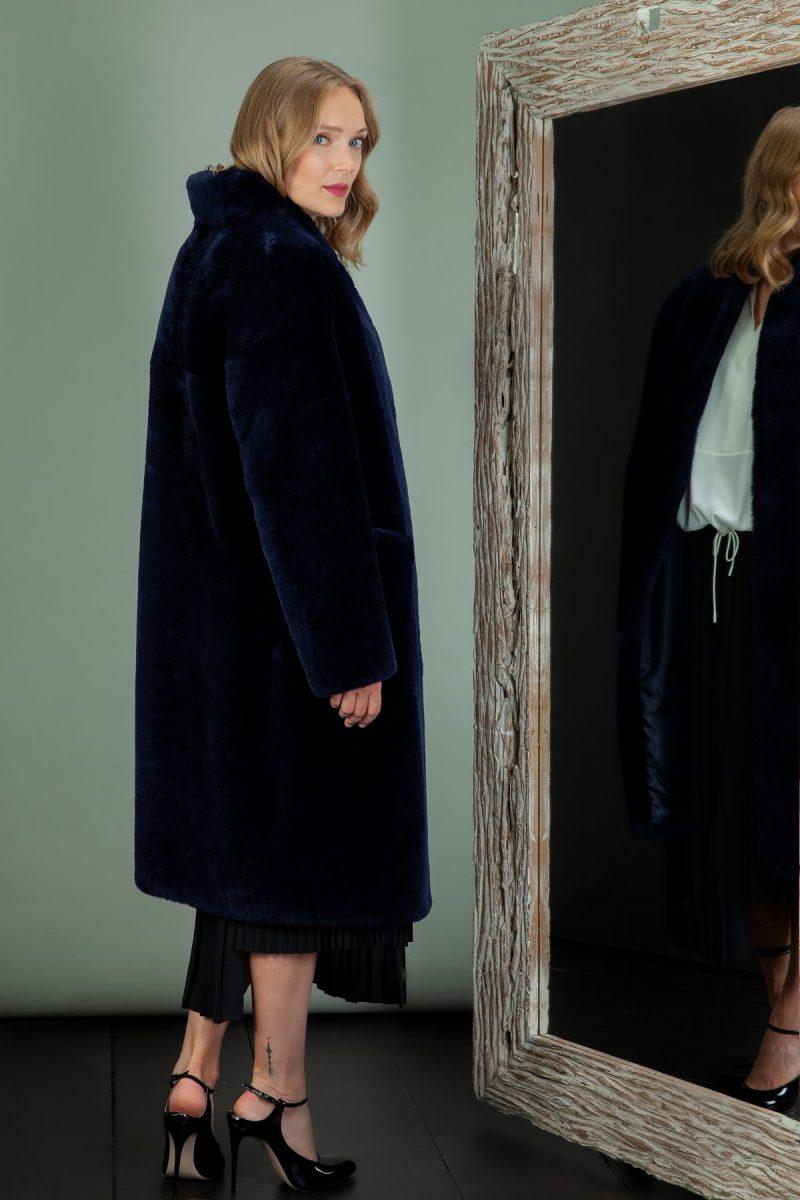 dark blue mouton sheepskin coat