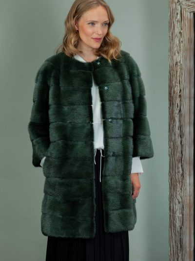 dark green mink fur coat