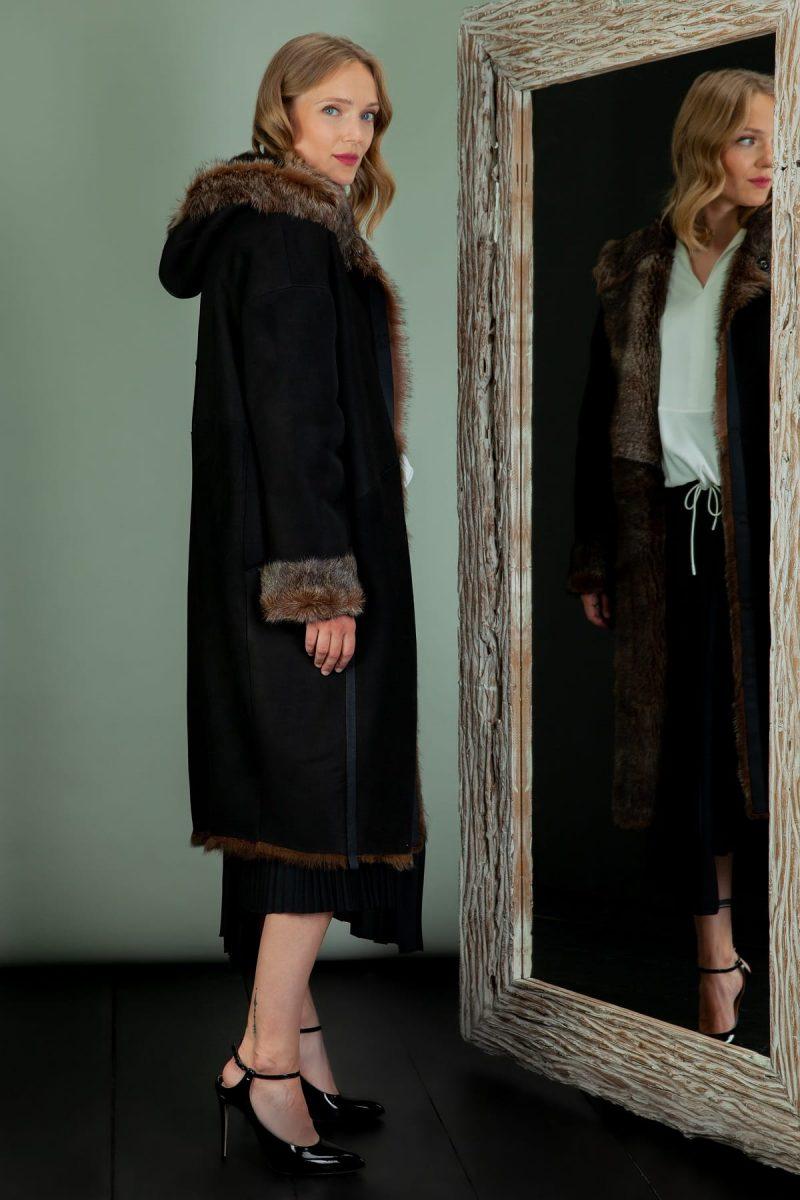fur lined hooded sheepskin coat