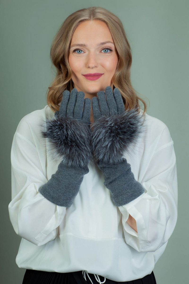 gray cashmere wool gloves with silver fox fur decoration