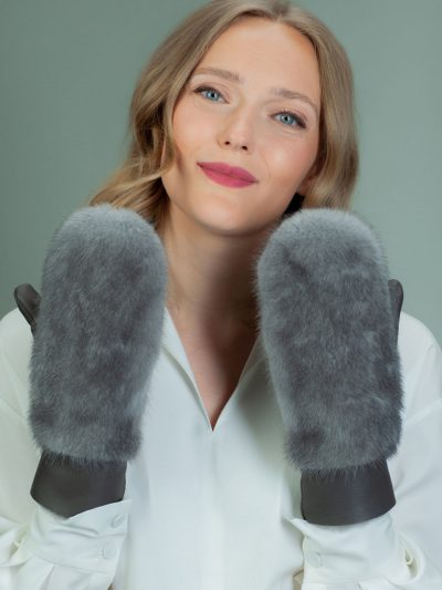 gray merino sheepskin mittens with mink fur decoration