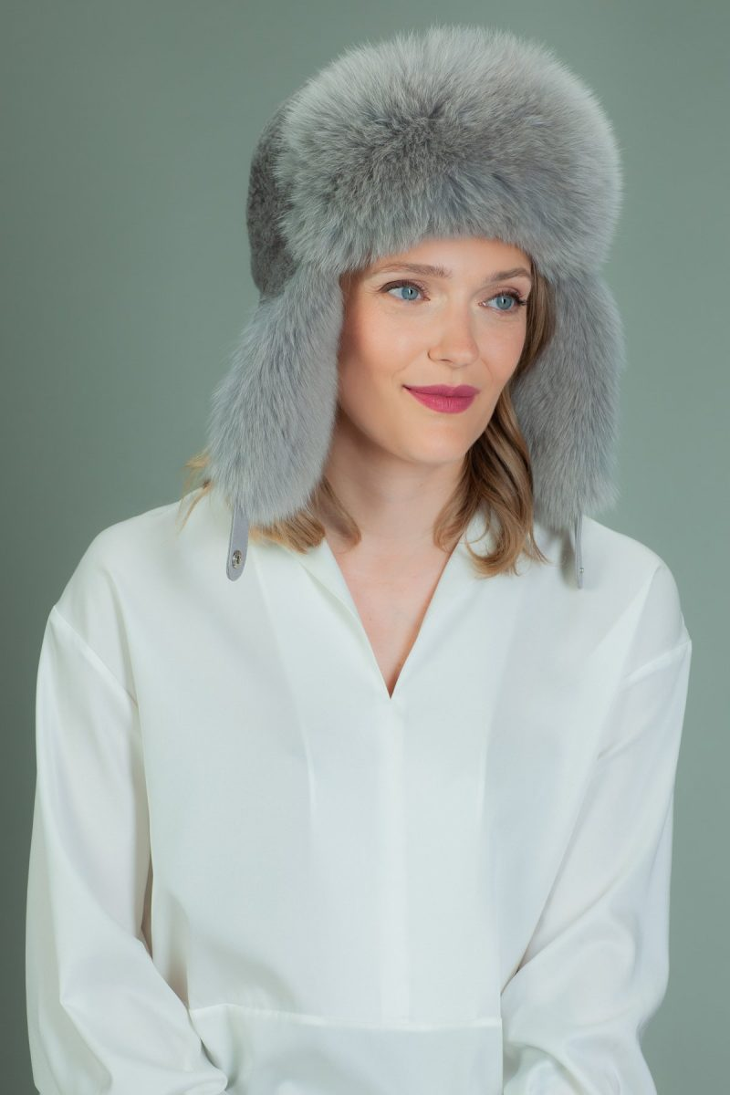 gray sheepskin ushanka hat with fox fur ear flaps