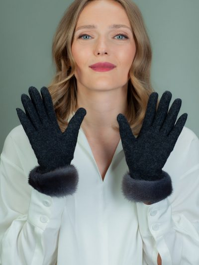 gray wool gloves with mink fur wrist cuffs