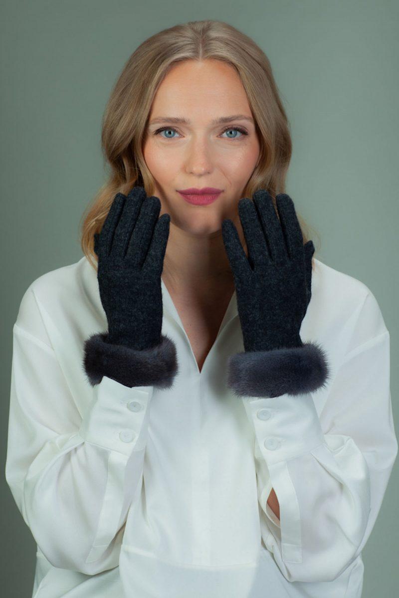 gray wool gloves with mink fur wrist cuffs