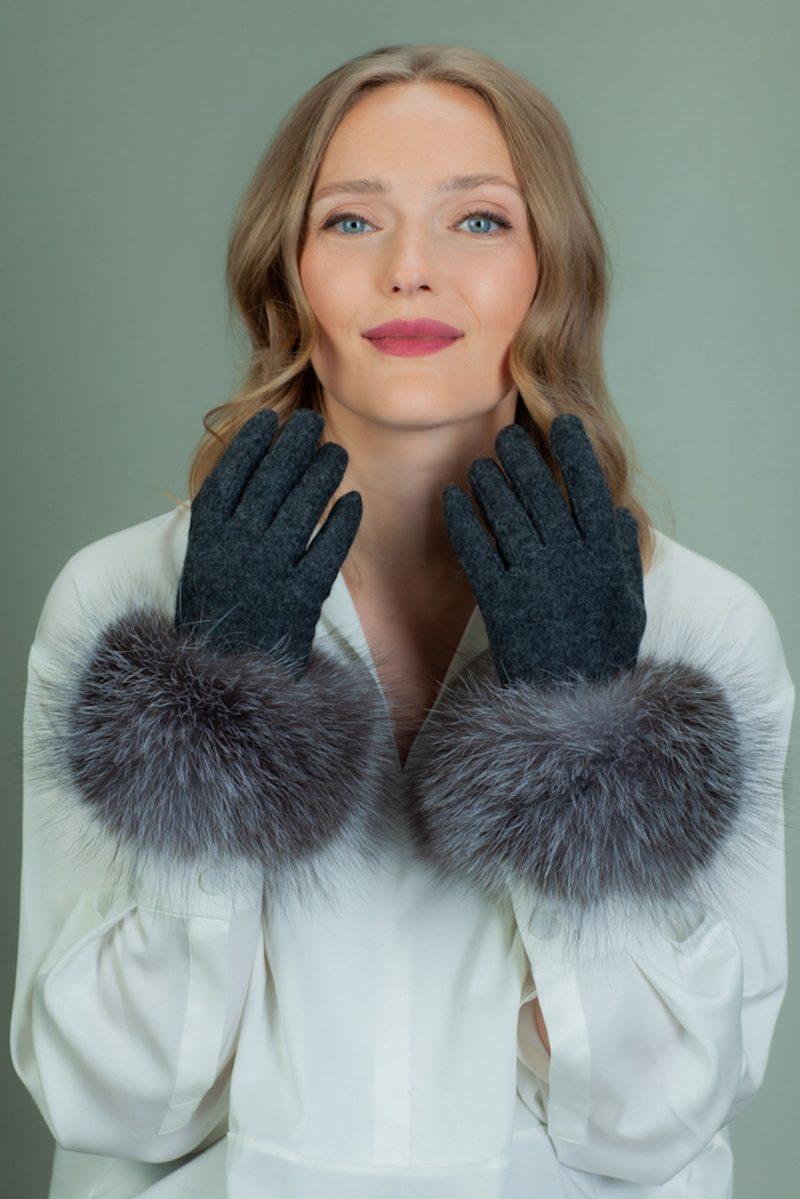 gray wool gloves with silver fox fur wrist cuffs