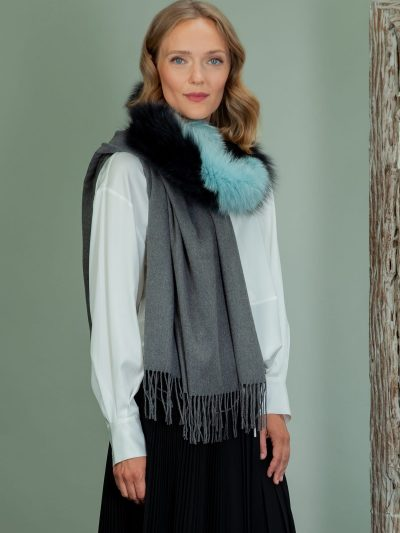 gray wool shawl with fox fur collar