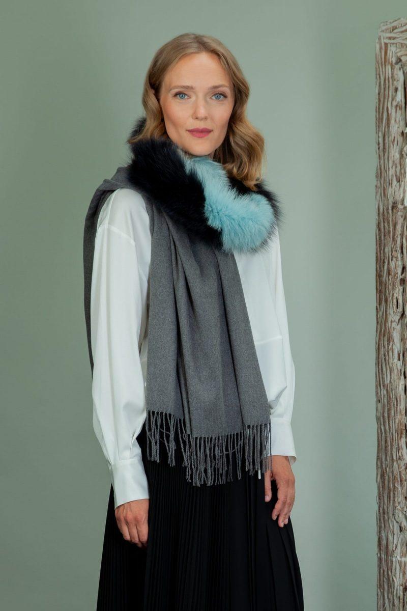 gray wool shawl with fox fur collar