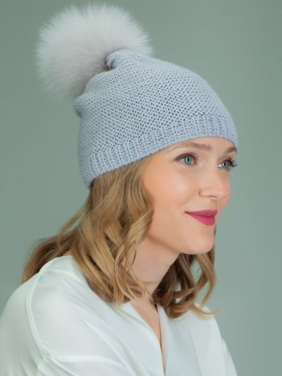 hand knit purple wool hat with fox fur pom-pom