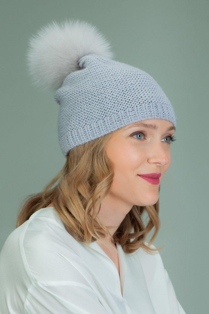hand knit purple wool hat with fox fur pom-pom