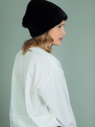 high black mink fur hat