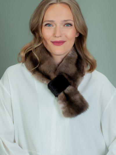 keyhole brown sable fur scarf