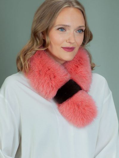 keyhole orange fox fur scarf