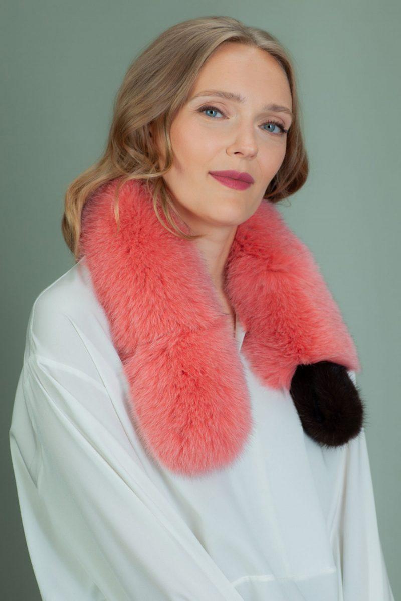 keyhole orange fox fur scarf