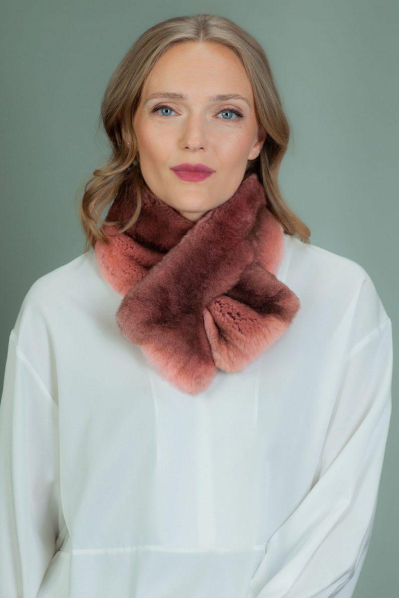 keyhole pink rex rabbit fur scarf