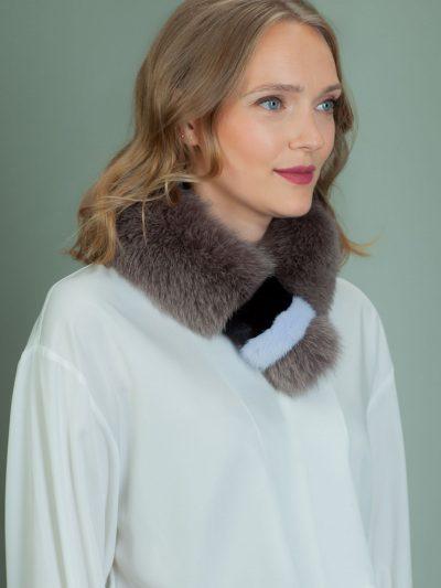 keyhole purple fox fur scarf