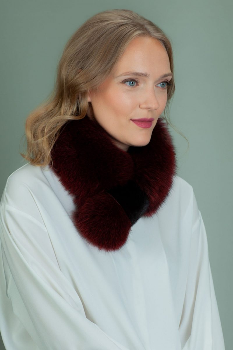 keyhole red fox fur scarf