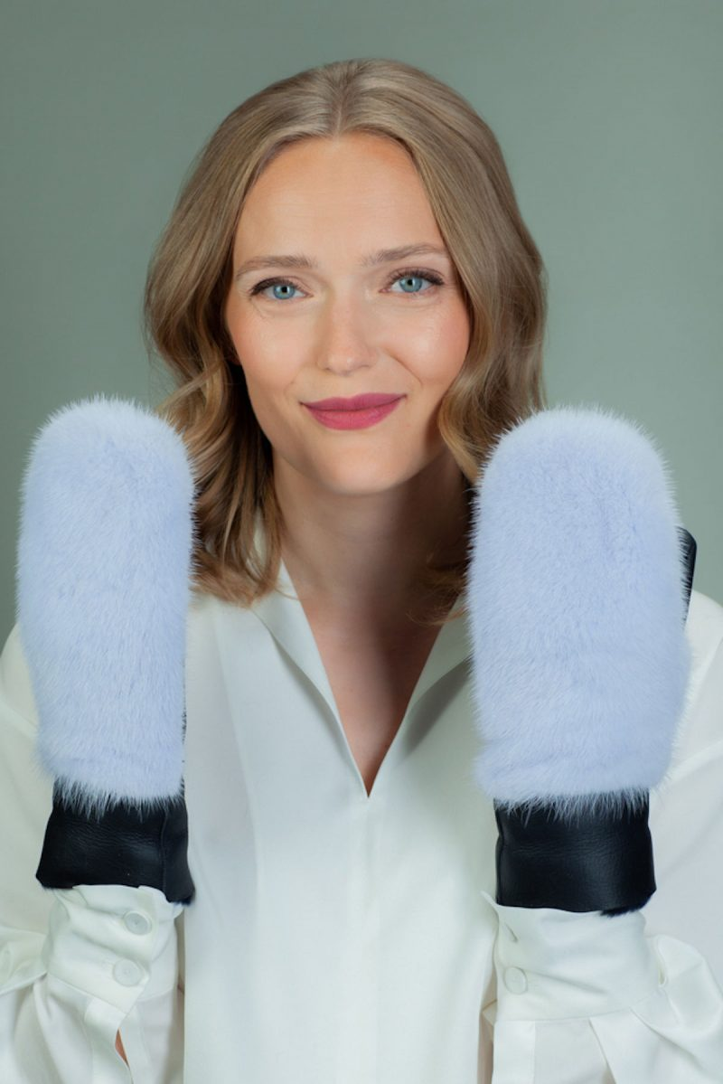 light blue merino sheepskin mittens with mink fur decoration