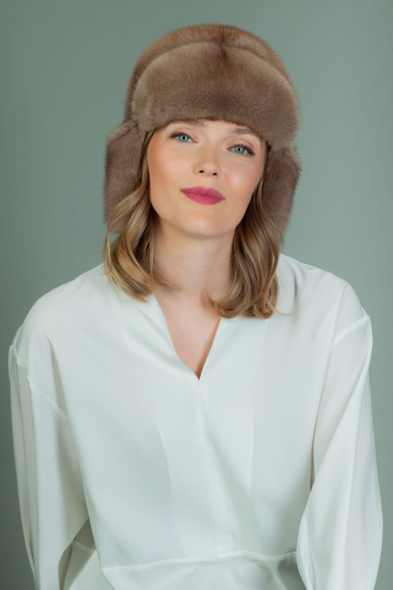 light brown mink fur ushanka hat
