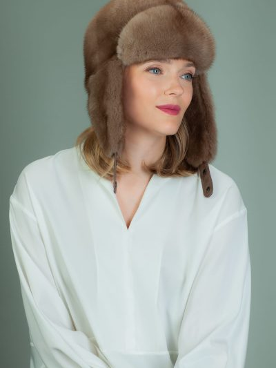 light brown mink fur ushanka hat