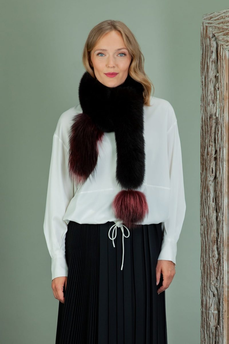 long red & black fox fur scarf with pom-pom
