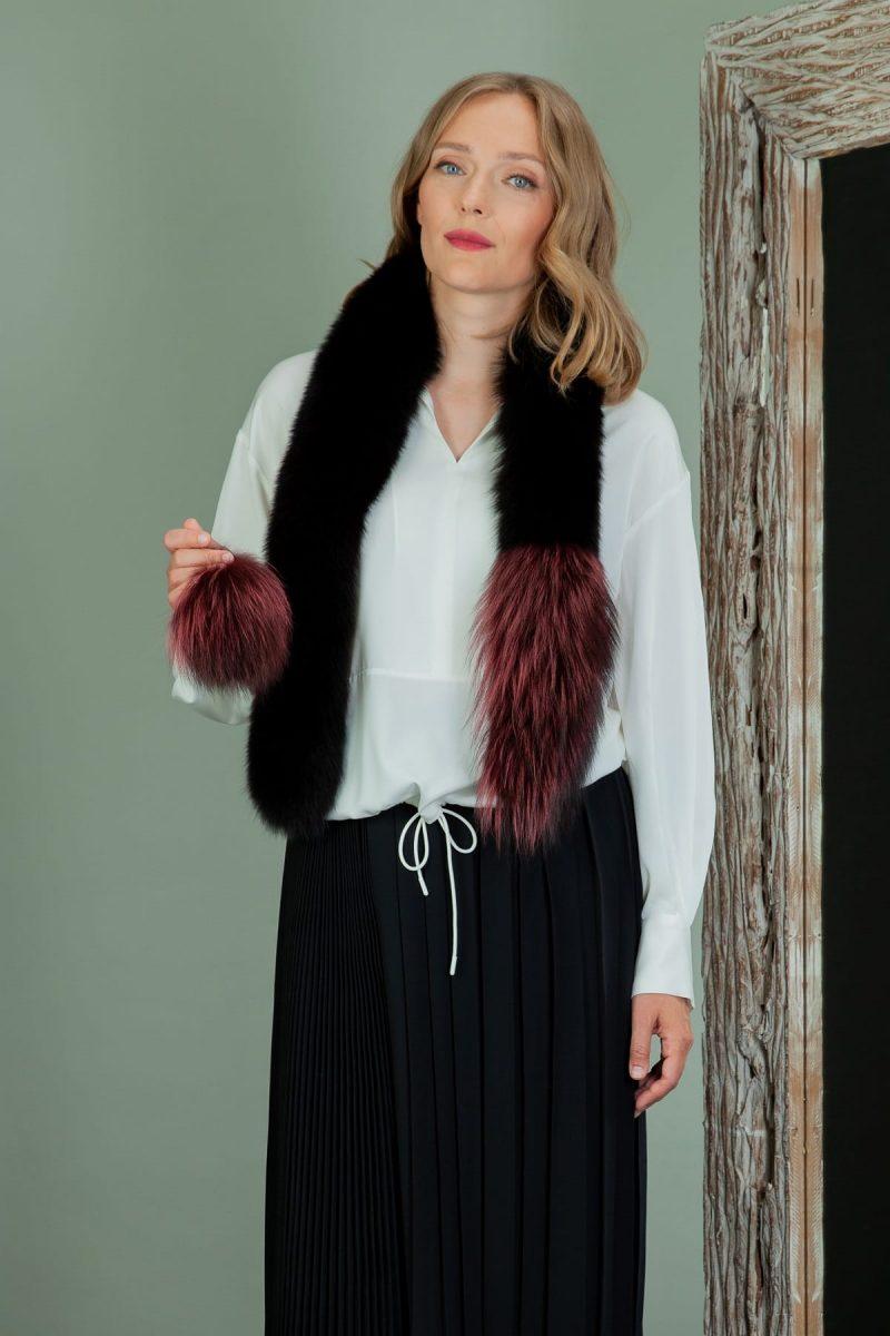 long red & black fox fur scarf with pom-pom