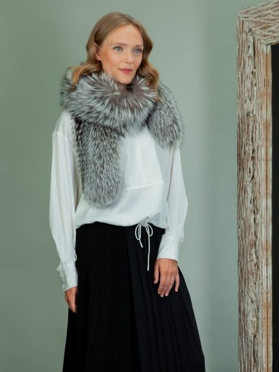 long silver fox fur scarf