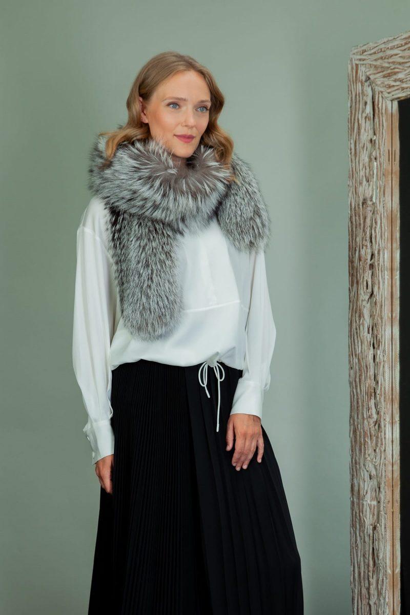 long silver fox fur scarf