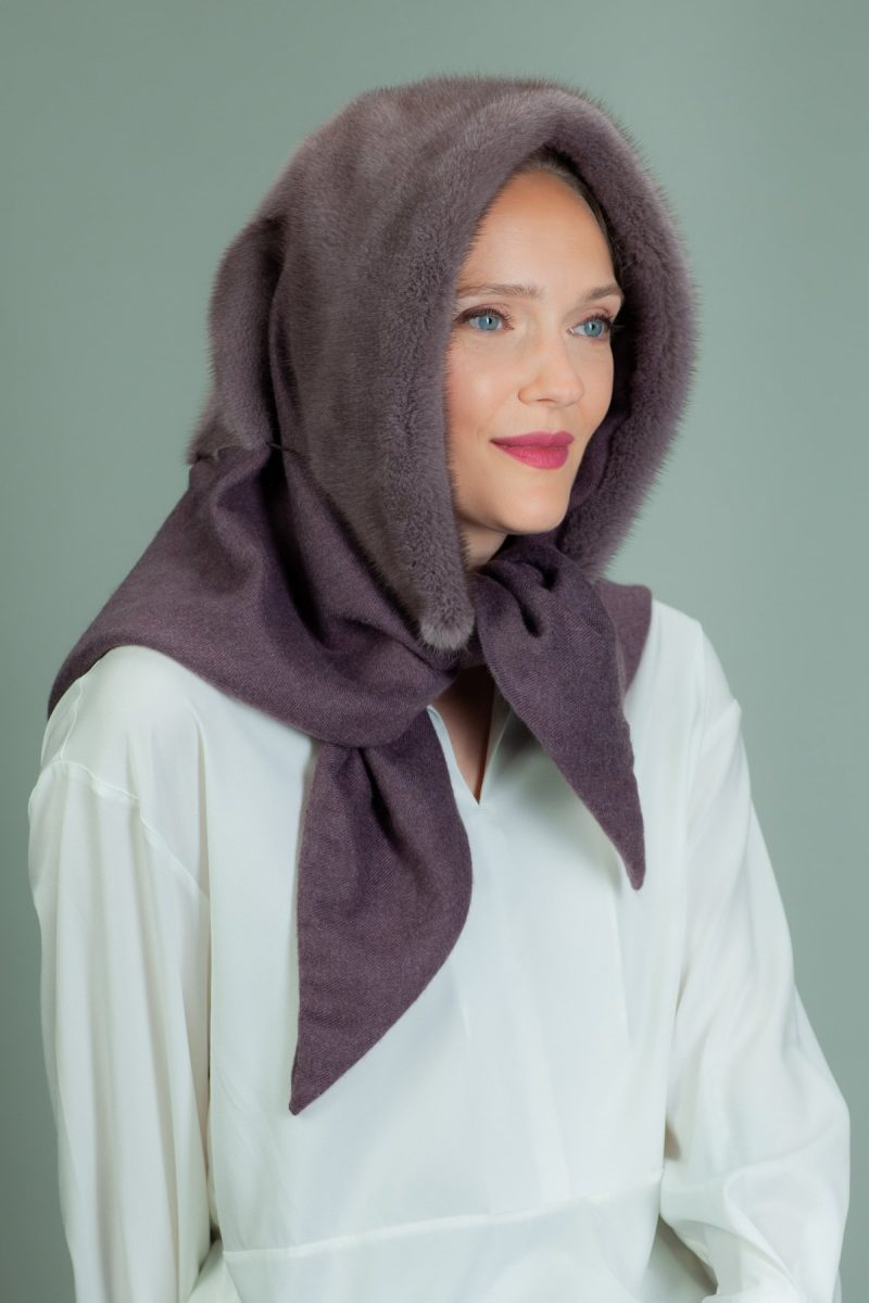 purple cashmere hooded scarf with mink fur