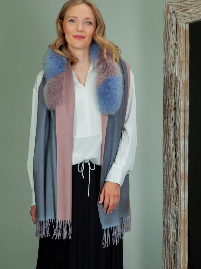 purple wool shawl with fox fur collar