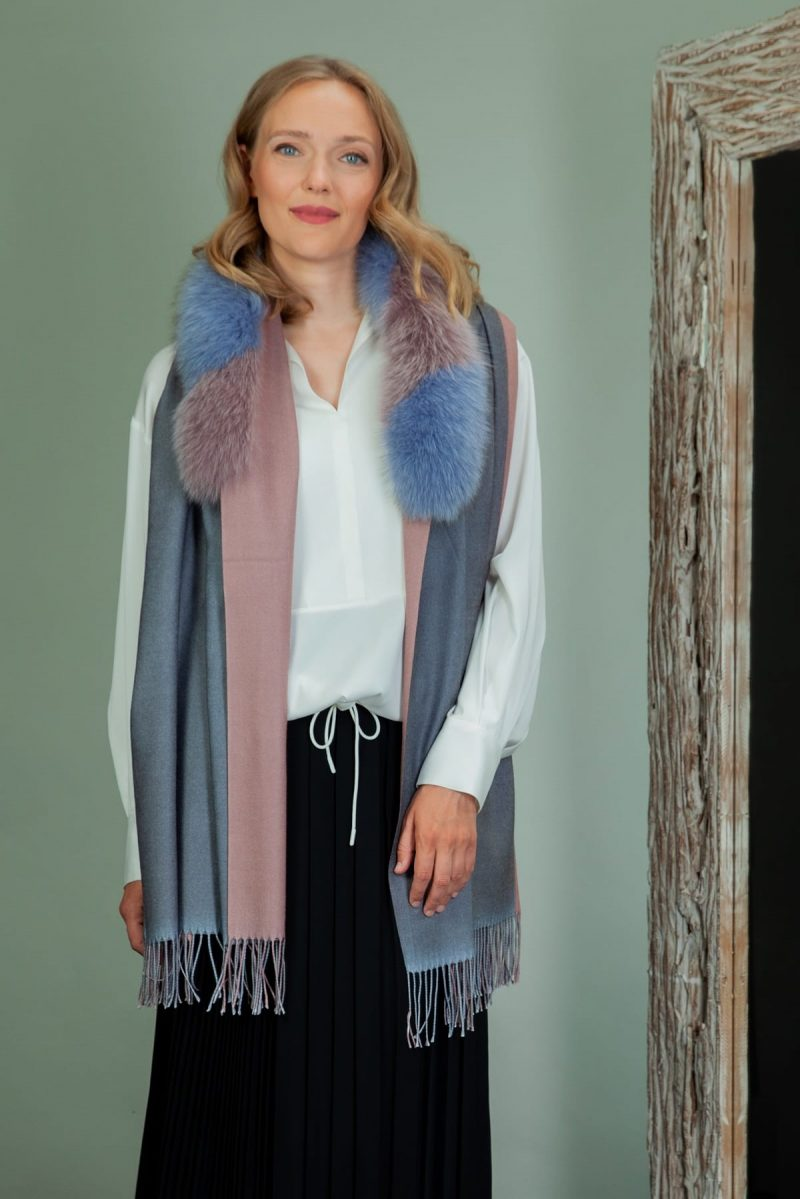purple wool shawl with fox fur collar