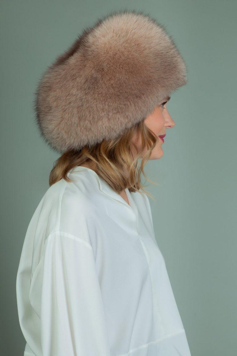 round beige fox fur hat with snap