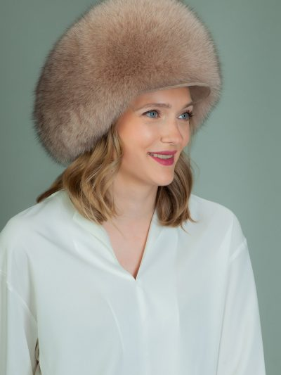 round beige fox fur hat with snap
