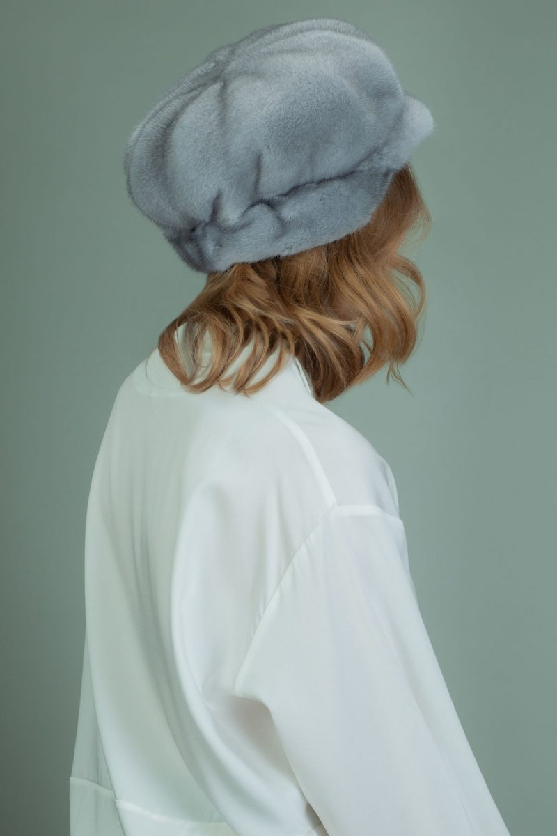 sapphire mink fur hat with snap