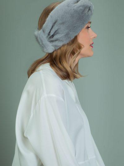 sapphire mink fur headband head wrap