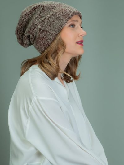 slouchy brown sheepskin fur hat