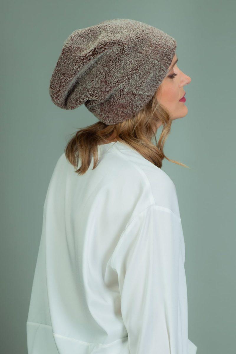slouchy brown sheepskin fur hat