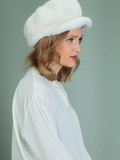 white mink fur hat with snap