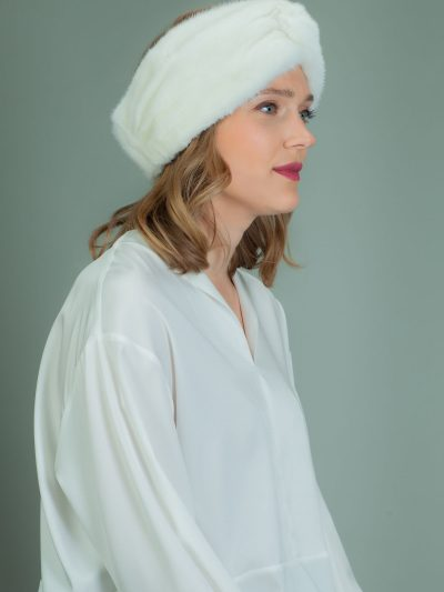 white mink fur headband head wrap