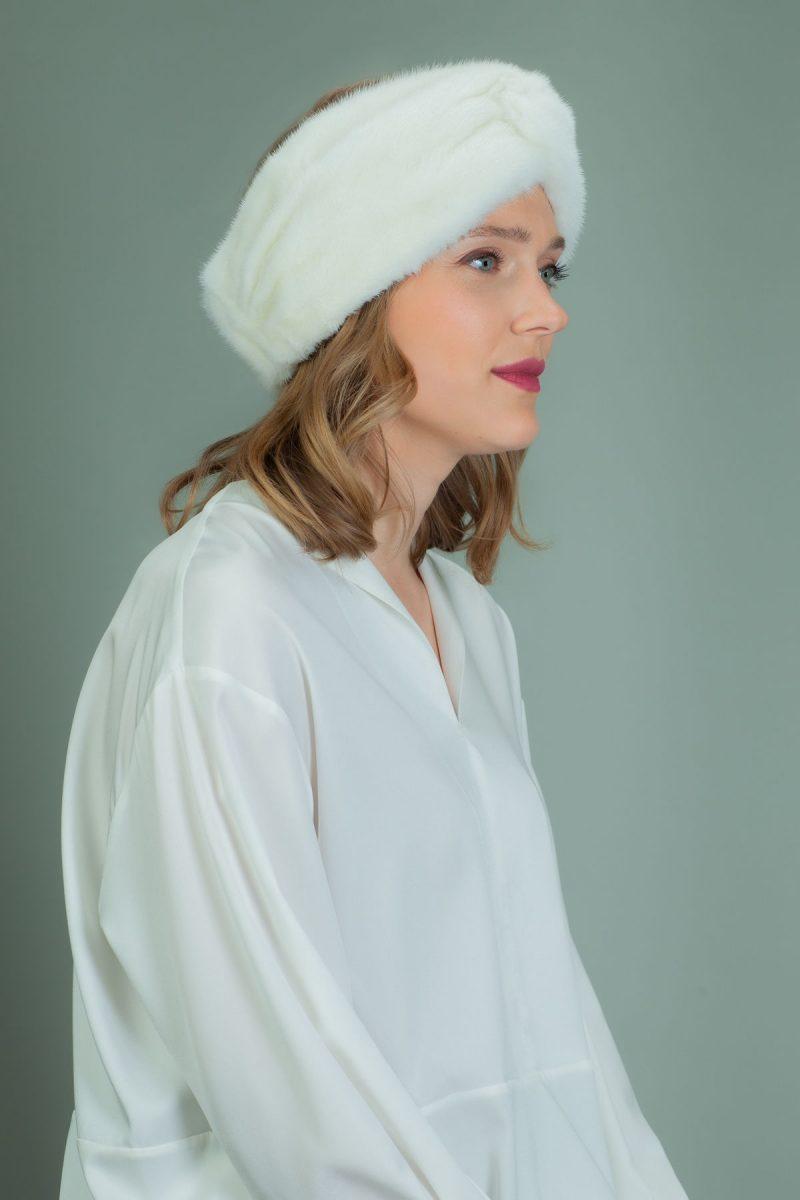 white mink fur headband head wrap