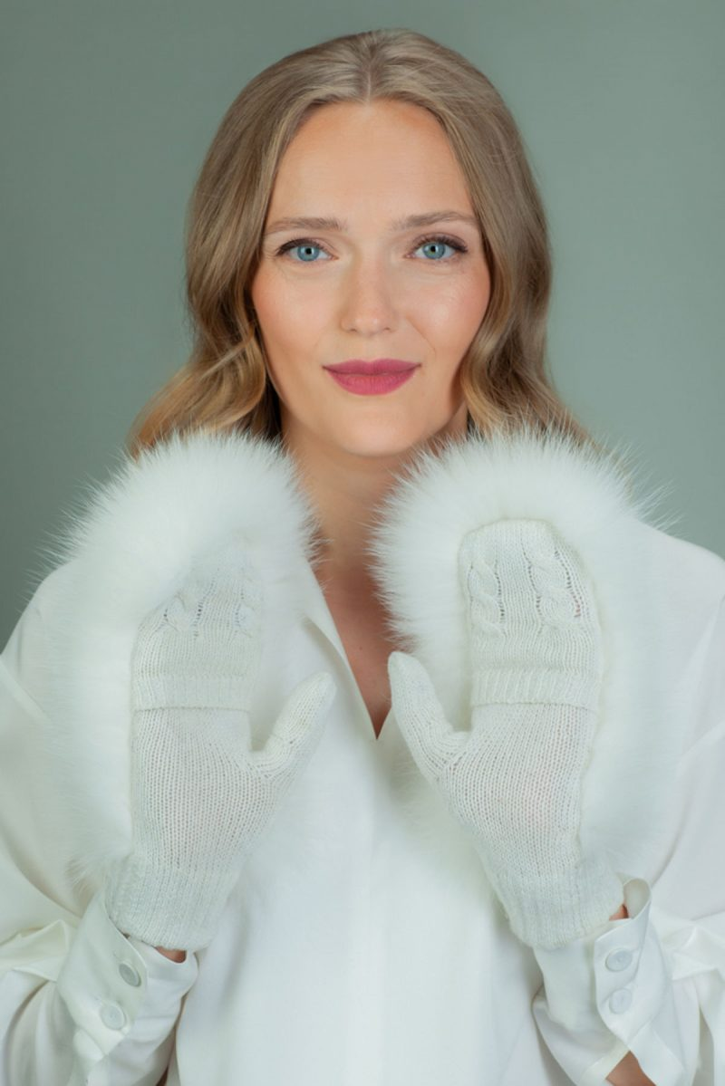 white wool mittens with fox fur decoration