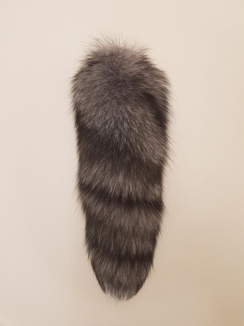 fox fur tail keychain pendant